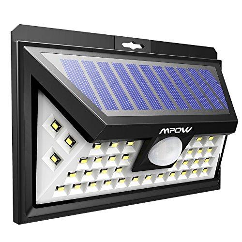 Mpow, Luce con 40LED, da giardino, luci a LED a energia solare con sensore di movimento, 3 modalità di illuminazione, grande pannello solare resistente alle intemperie, ideale per l'esterno, luci per giardino, cortile, patio e vialetti