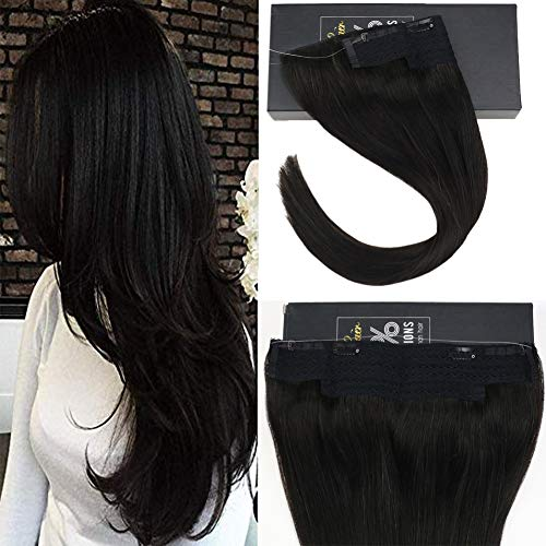 Sunny 18 Inch Hidden Invisible Wire Black Human Hair One Piece Extensions #1B Natural Black Secret Miracle Wire Halo Human Hair Extensions For Women 80g
