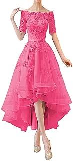 Women's Bridal Half Sleeves High Low Prom Dresses 1/2 Sleeves Off Shoulder Bridesmaid Dress Appliques