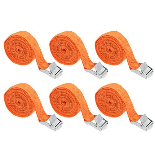 Wakauto 6-Teilige Zurrgurte mit Verstellbaren Zurrgurten für Die Schnalle Nockengurte für Die Schnalle des Motorradanhängers Orange