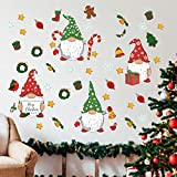Stology Christmas Gnomes Wall Decal Stickers, Merry Xmas Scandinavian Tomte Elf Snowflake Candy Cane Decor, Winter Holiday Home Kitchen Fridge Decoration Nursery Room Art Party Supplies