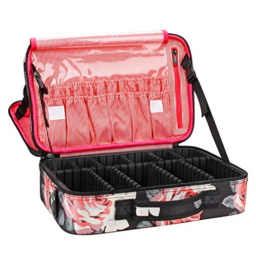 Relavel Makeup Bag Travel Makeup Train Case 13.8 inches Large Cosmetic Case Professional Portable Makeup Brush Holder Organizer and Storage with Adjustable Dividers (Peony Pattern)