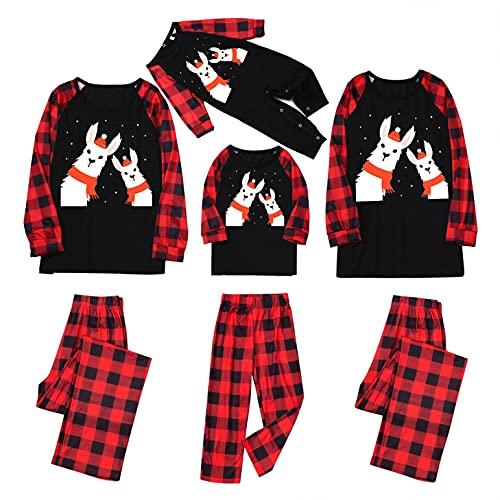 Family Matching Christmas Pajamas Sets Xmas Cute Deer Print Holiday Long Sleeve Top Sleepwear for Dad Mom Kids Pjs