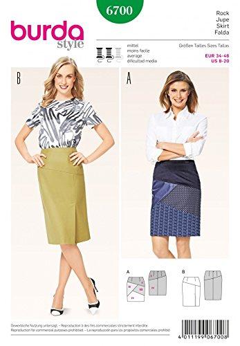 Burda Damen Schnittmuster 6700Getäfelten Bleistift Röcke + Gratis Minerva Crafts Craft Guide