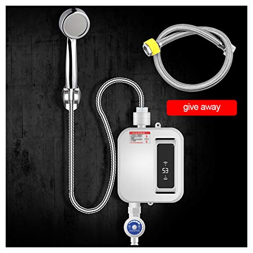DGYAXIN Mini Durchlauferhitzer 220V 3400W Stufenlose Temperaturregelung Elektronischer Durchlauferhitzer LCD Dusche Warmwasserbereiter Elektro Durchlauferhitzer für Badezimmer Dusche Küche