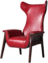 Garden Chair Lounge Chairs Modern Arm Chair in Red PU Leather for Living Room and Bedroom Lounge Armchair (Color : Red, Si...