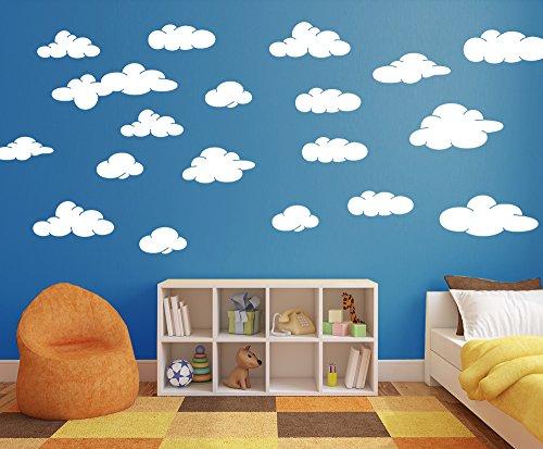 Cloud décalcomanies en blanc en Chambre d'enfant Stickers muraux Art Kids amovible Chambre d'enfant, Vinyle, blanc mat, Medium-Set