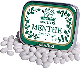 Mint Drops Candy Pastilles From France Candies in Retro Tin (Pack of 3)