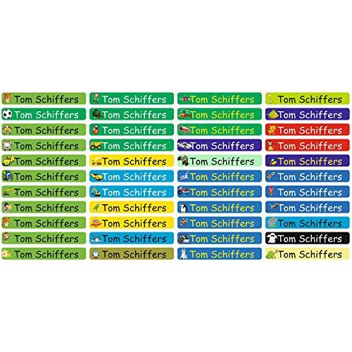 INDIGOS UG® Aufkleber Namensaufkleber Stifteaufkleber - 49x7 mm - personalisiert - MIX Jungen - 88 Stück für Kinder, Schule und Kindergarten - Stifte, Federmappe, Lineale - individueller Aufdruck