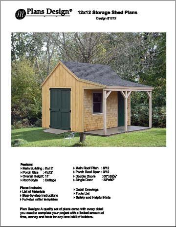 12' X 12' Cottage Shed with Porch, Project Plans -Design #81212