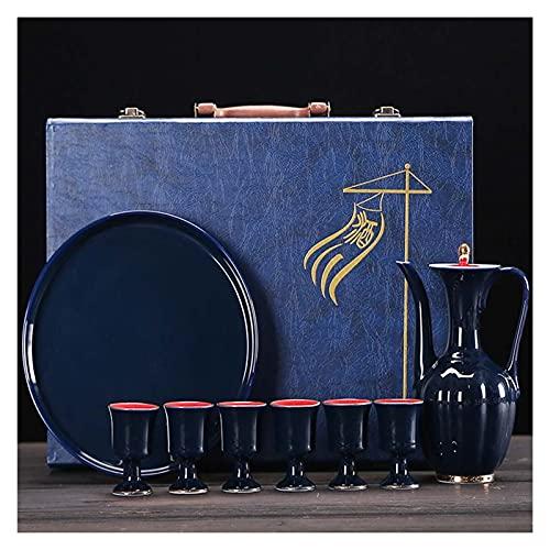 HQQ Set Set Set Chinese Antique Jajug Combinación de hogar Juego de Tres Piezas 1x Bandeja 1x Botella de Vino 6X