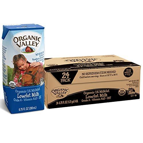 Organic Valley, Milk Boxes, Shelf Stable 1% Milk, Healthy Snacks, 6.75 Fl Oz (Pack of 24)