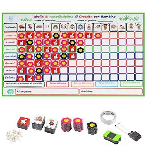 TIMESETL IT Tabla de Recompensas Magnética para Niños 50 Tareas 60cm x 45 cm Pizarra de Tareas para Pared o Frigorífico