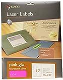 MACO Etiquetas fluorescentes de color rosa láser, 1 x 2-5/8 pulgadas, 30 por hoja, 750 por paquete (ML-8101)