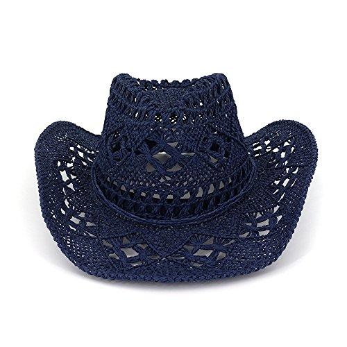 Azly-Caps Chapeaux de Cow-Boy Creux de Paille normaux, Bande de tête élastiquée intérieure, Style Vintage avec Bordure perlée,Bleu