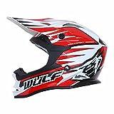 Caschi da Moto: WULFSPORT ADVANCE ENDURO ACU ECE Adulti Omologata Sport Casco Moto, Casco da Corsa (XS, ROSSO)
