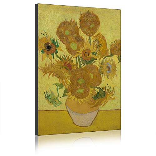 Five-Seller Stillev-vaas met vijftien zonnebloemen van Van Gogh olieverfschilderij op canvas kunstdruk op canvas voor woondecoraties