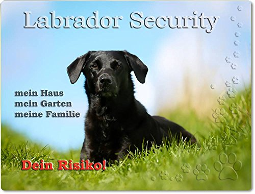 Merchandise for Fans Warnschild - Schild aus Aluminium 20x30cm - Motiv: Labrador Security (01)