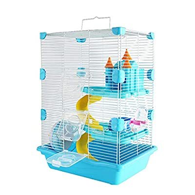WXLSQ Hamster Cage Extra Large Hamster Cage Double Layer Villa Package Hamster Supplies Hamster Nest Toy Blue Large Value Villa Set by WXLSQ