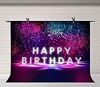 HDハッピーバースデー写真の背景カラフルな花火誕生日パーティーの背景ケーキテーブル用品スタジオ小道具10x7ft BJQQFU108