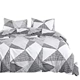 Wake In Cloud - Geometric Comforter Set, 100% Cotton Fabric with Soft Microfiber Fill Bedding, Triangle Modern Pattern Printed in Black White and Gray Grey (3pcs, Queen Size)