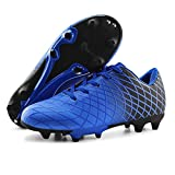 JABASIC Kids Outdoor Soccer Cleats Athletic Firm Ground Football Shoes (4,Blue)