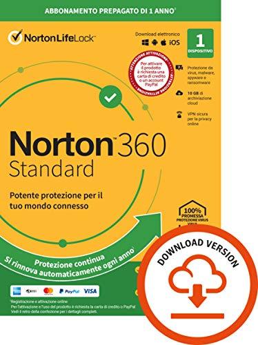 Norton 360 Standard 2021, Antivirus per 1 Dispositivo, Licenza di 1 anno con rinnovo automatico,...