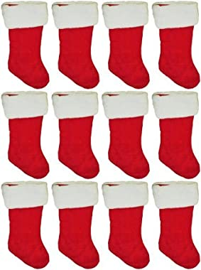 """Black Duck Brand Set of 12 19"""" Red Velvet Stocking (12 Pack) W/White Plush Cuff & Red Hanging Tag"""