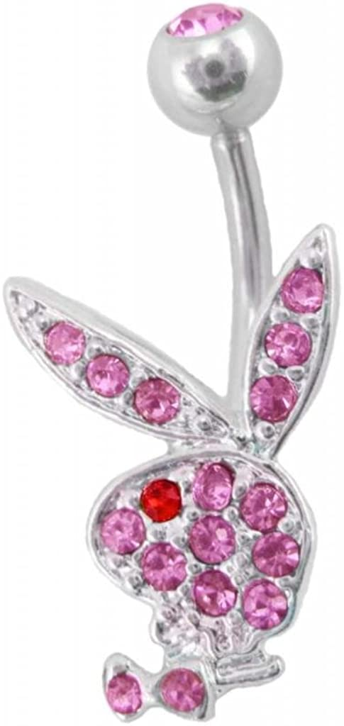Officially Licensed Pink Playboy Bunny Rabbit Belly Navel Ring Piercing bar Body Jewelry 14g