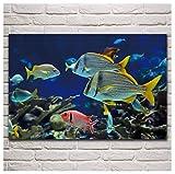 MGSHN Acuario de Peces de Colores exóticos Mundo Submarino Ilustraciones de Animales Carteles clásicos Obra de Arte Regalo Decoración de Pared Impresión en Lienzo 60x90cm Sin Marco