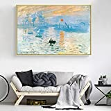 KWzEQ Famosos pósters Impresos al Amanecer con Pintura al óleo y lienzos murales Impresos, utilizados para la decoración de la Sala de Estar,Pintura sin Marco,75x112cm