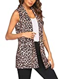 HOTLOOX Long Vest for Women Sleeveless Duster Blazer Vest Casual Open Front Cardigan with Pockets (Leopard, Large)
