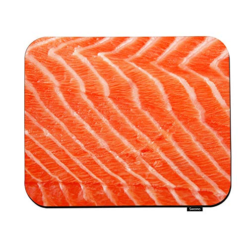 Swono Salmon Fillet Mouse Pads Fresh Fish Seafood Piece of Big Red Salmon Fillet Over White Mouse Pad for Laptop Funny Non-Slip Gaming Mouse Pad for Office Home Travel Mouse Mat 7.9'X9.5'