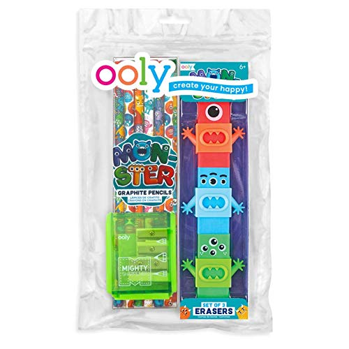 Ooly Happy Pack, Graphite Pencils + Sharpener + Erasers - Monsters