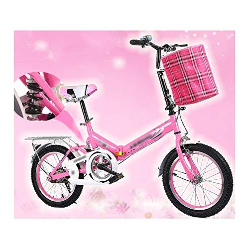 YSHCA Opvouwbare vouwfiets, 20 inch, koolstofstalen frame, fiets, vouwfiets met standaard bagagedrager en mand voor heren, dames, meisjes, jongens