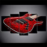 wodclockyui 5 Piezas Cuadro de Lienzo- Instrumento Musical d