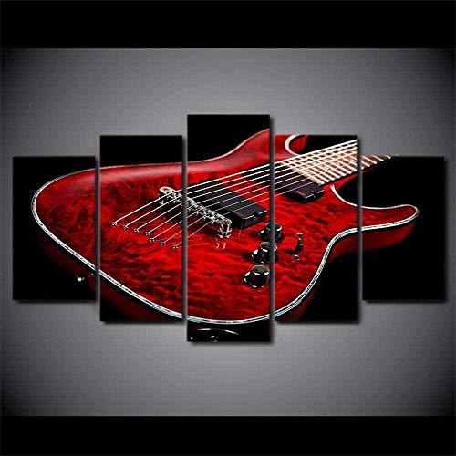 wodclockyui 5 Piezas Cuadro de Lienzo- Instrumento Musical de Guitarra eléctrica roja...