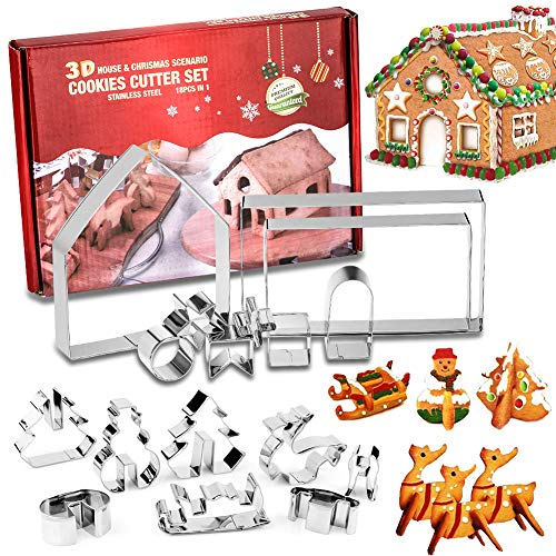 LKKCHER 18PCs 3D Cookie Cutter, Pastry Cutter, Stainless Steel Christmas Cookie Cutter, Gingerbread House Kit, Kids DIY Biscuit Baking Mould, Christmas Cookie Shapes, Cake Decoration