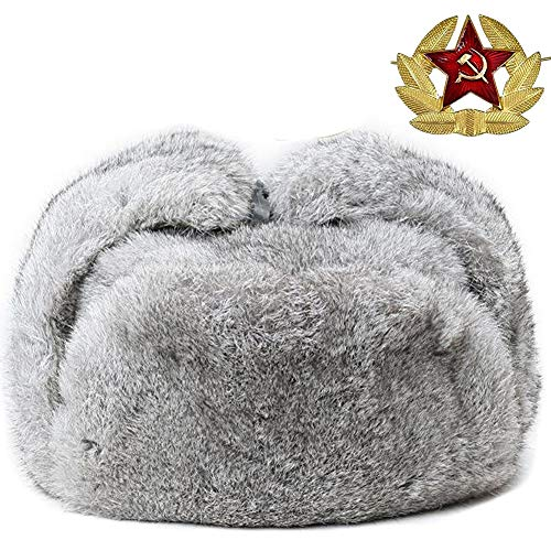 Valpeak Mens Winter Hat Real Rabbit Fur Russian Ushanka Hats (Gray, XL)
