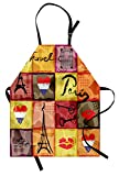 Ambesonne Modern Apron, Collage Print Colorful Hearts Eiffel Tower French Flag and Paris Lettering, Unisex Kitchen Bib with Adjustable Neck for Cooking Gardening, Adult Size, Orange Purple
