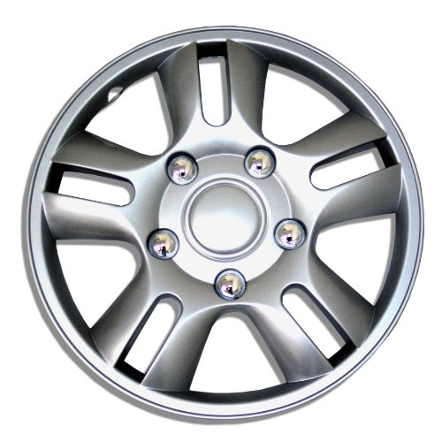 Tuningpros WC1P-15-1006-S - Pack of 1 Hubcap (1 Piece) - 15-Inches Style Snap-On (Pop-On) Type Metallic Silver Wheel Covers Hub-caps