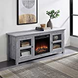 BELLEZE 58' TV Stand Entertainment Center Console for TV's Up to 65' W/Infrared Electric Fireplace and Remote Control, Light Grey