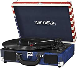 Victrola Vintage 3-Speed Bluetooth Portable Suitcase Record Player with Built-in Speakers | Upgraded Turntable Audio Sound| Includes Extra Stylus | American Flag