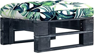 vidaXL Tuinhocker pallet zwart geïmpregneerd grenenhout