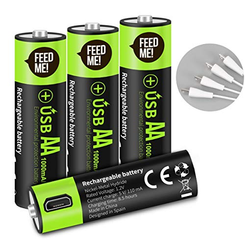 USB Rechargeable AA Batteries,1000 mAh AAA Batteries with USB Ports - High-Capacity Batteries Long-Lasting Power Recyclable Recharge Battery -4pack