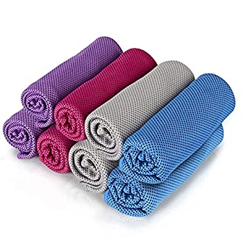8Packs Cooling Towel  40 x 12   Ice Towel Microfiber Towel Soft Breathable Chilly Towel Stay Cool for Yoga Sport Gym Workout Camping Fitness Running Workout & More Activities