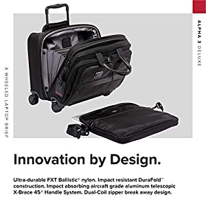 TUMI - Alpha 3 Deluxe 4 Wheeled Laptop Case Brief Briefcase - 17 Inch Computer Bag for Men and Women - Black