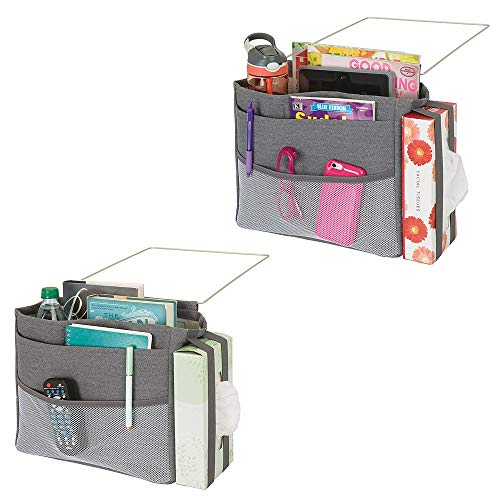mDesign bedtas om op te hangen – ruime nachtkastje organizer – met vijf zakken – praktische ophanging voor waterfles, afstandsbediening, polshorloge & Co. 2er Pack donkergrijs