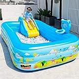 Piscinas Piscinas inflables Slide parque de atracciones al aire libre espesado centro de natación for niños de dibujos animados de jardín Piscina for niños grandes de la familia (Color: azul, tamaño: