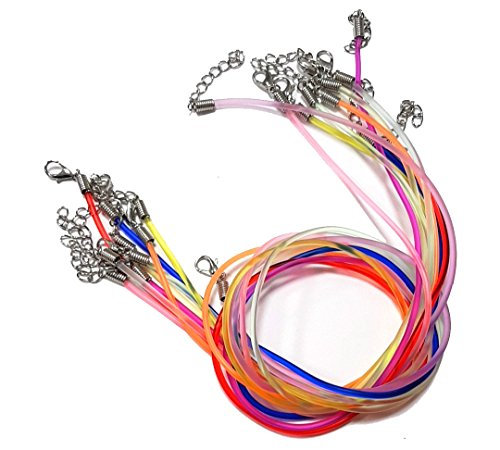 10Stk Halsband Schmuckband mit Messing Karabiner Verschluss Kunstleder Halskette 2mm 46cm Bunt Mix Neon Farbe Kautschukband C144